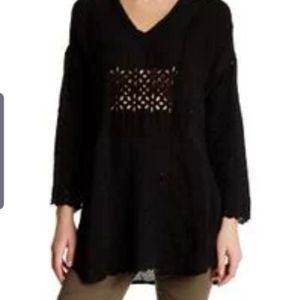 Johnny Was black eyelet blouse size small